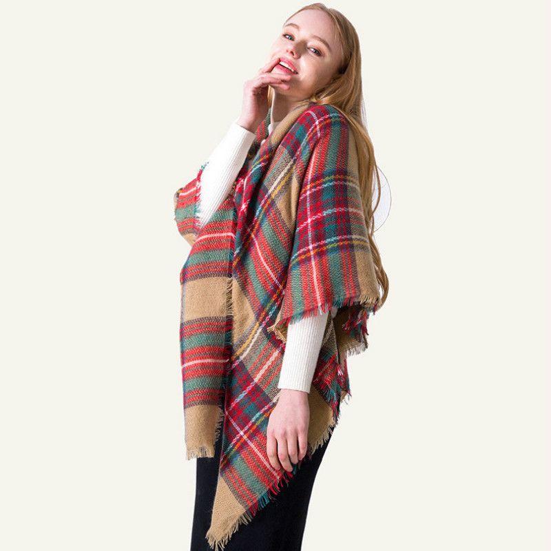 592cf5ea3 New Women Plaid Scarves Grid Tassel Wrap Oversized Check Shawl Tartan Cashmere  Scarf Winter Neckerchief Lattice Blankets Fashion Silk Scarves Silk Scarf  ...