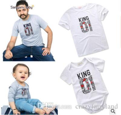 c6ec6c65 Family Matching Outfits Father And Son Clothes 2018 Summer King 01 Printed Clothing  Newborn Baby Romper Father Tops T Shirts Matching Clothes Mom And ...
