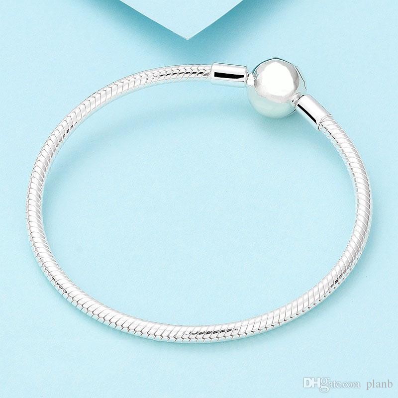 925 Sterling Silber glatte 3mm Schlangenkette europäischen Perlen passt Pandora Armband Armreif Kette Schmuck mit Logo Geschenk für Männer Frauen