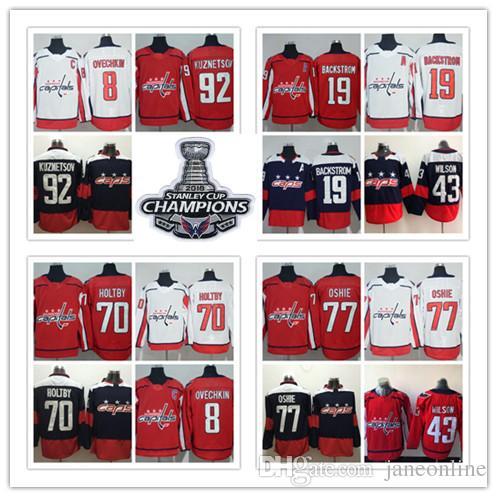 2018 2018 Stanley Champions Washington Capital 77 T.J. Oshie 8 Alex Ovechkin  43 Tom Wilson 19 Backstrom Braden Holtby Kuznetsov Hockey Jersey From ... 0ee1971860bc8