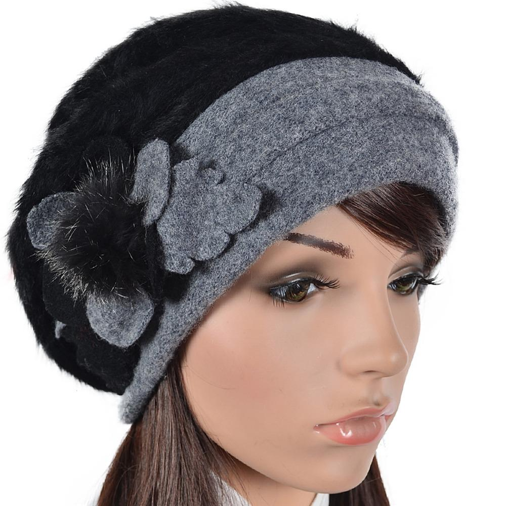 60753dc764285 2019 Womens Angora French Beret Fur Beanie Floral Berets Lined Skullcap Winter  Hat FORBUSITE From Zebrear, $52.14 | DHgate.Com