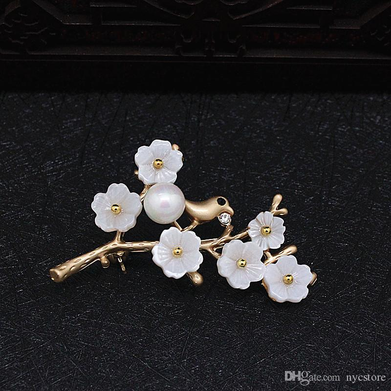 White Imitation Pearl Brooches and Pins Plum blossom Flower Branches Dress Accessories Jewelry Pins