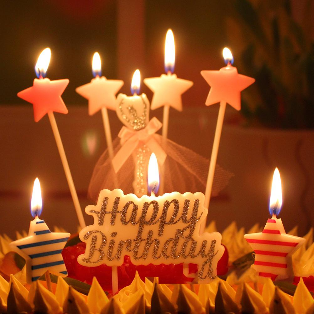 1 Set 6 Design Birthday Cake Candles Safe Flames Party Festivals Home Decorations Happy Birthday Star Candles