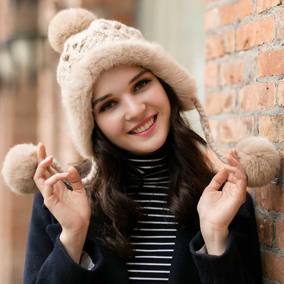 bbe23b9e81e 2019 EarFlaps Winter Bomber Hat For Women Rabbit Fur Knitting Hat Girl Warm  Solid Color Cap Cozy Bonnet Caps Earflap Earmuffs Caps From Mangosteeni