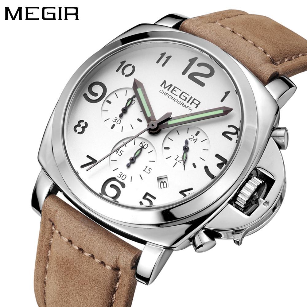 687ba1986e9d Compre MEGIR Moda Top Brand Luxury Quartz Relojes Hombres Reloj Deportivo  Cronógrafo Correa De Cuero Reloj De Pulsera Reloj Masculino S921 Relogio  Masculino ...