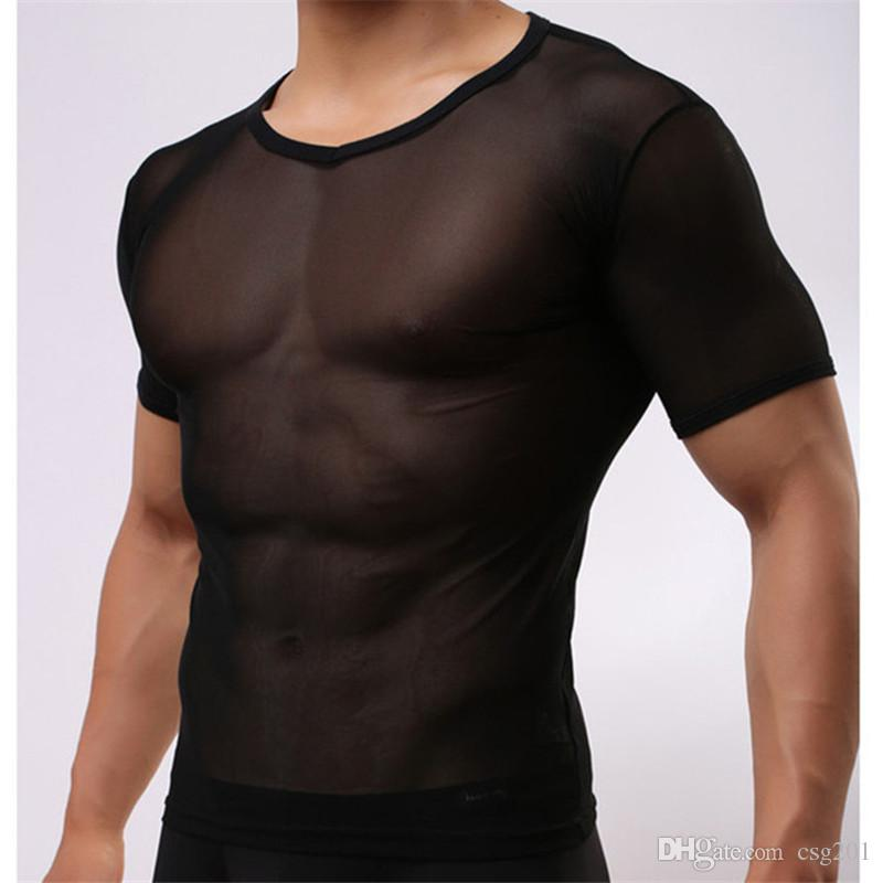 Men Mesh Transparent Tshirt Super Thin Ice Silk T Shirts Show Muscle Compression Tees Inner Tops Black White Skin Tshirt