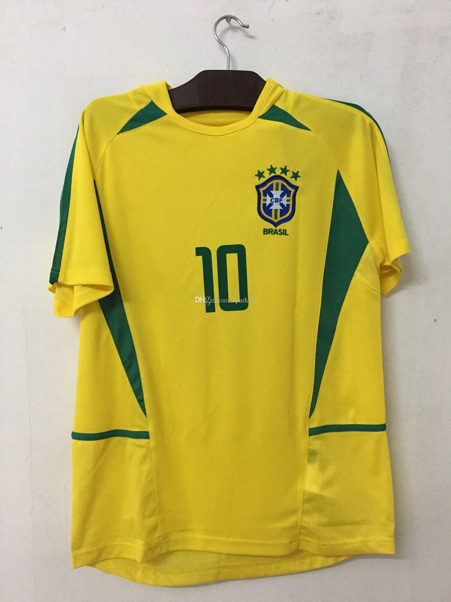 b32d820c4af764 Großhandel Weltmeisterschaft 2002 Brasil 9   10   RIVALDO Retro Jersey  Klassiktrikot BRASIL RETRO VINTAGE CLASSIC 11   RONALDINHO Fußball  Trikotuniform Von ...