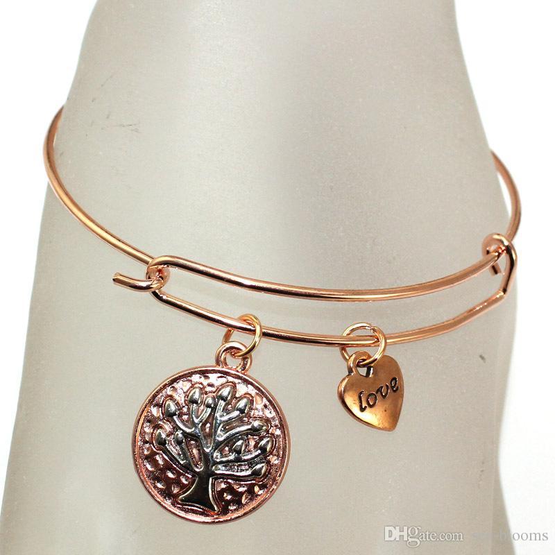 Fashion Jewelry Retro Tree Of Life Bracelets Wire Ring Push-Pull Bracelet Punk Wind Bracelet Mother'S Souvenir Hand Pendant Free DHL G913R