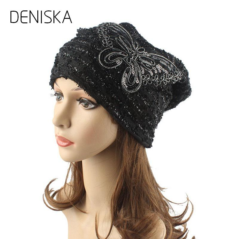 2018 Sequin Turban Hat Women Chemo Beanie Hats Beanies Female Lace  Butterfly Knitted Cap Lady Double Layer Warm Caps Beanies For Men Trucker  Caps From ... 7f6e5e570ea7