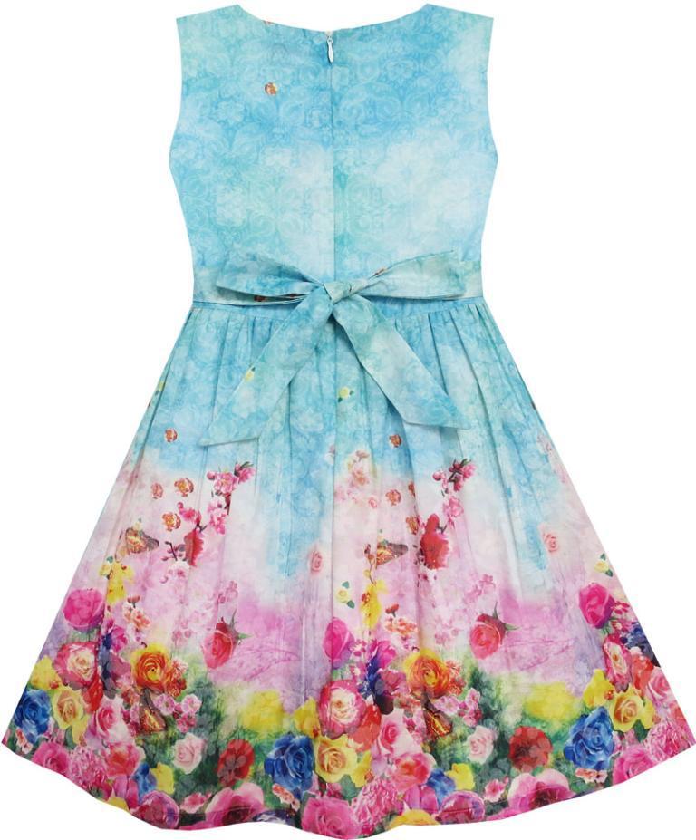Girls Dress Blooming Rose Garden Flower Sleeveless Blue 2017 Summer Princess Wedding Party Dresses Children Clothes Size 4-12