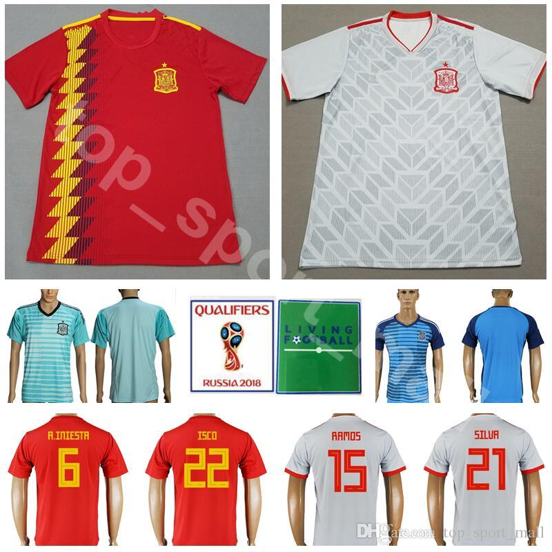 d5118b421b9 2019 2018 Spain Jersey Men Soccer World Cup 6 INIESTA 15 SERGIO RAMOS 21  SILVA Football Shirt Kits Custom Name Number 22 ISCO 19 DIEGO COSTA From ...