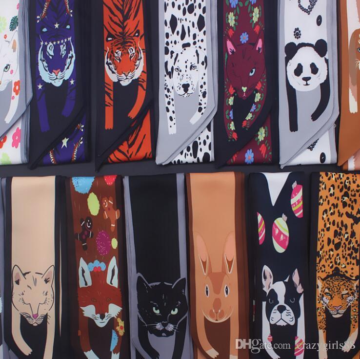 Acheter Femmes Mode Animaux Chat Tigre Panda Chien Imprimé Twill Foulards  En Satin Foulard Bandeau Foulard Foulard Sac À Main Écharpe Tête De Cou  Cheveux ... ad9f1811d7d