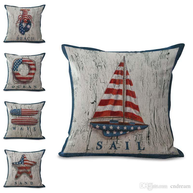 449514b69626 America Flag Sailing Boat Compass Life Ring Pillow Case Cushion Cover Linen  Cotton Square Pillowcase Cover Home Sofa Decor Drop Shipping Hotdog Pillow  Cheap ...
