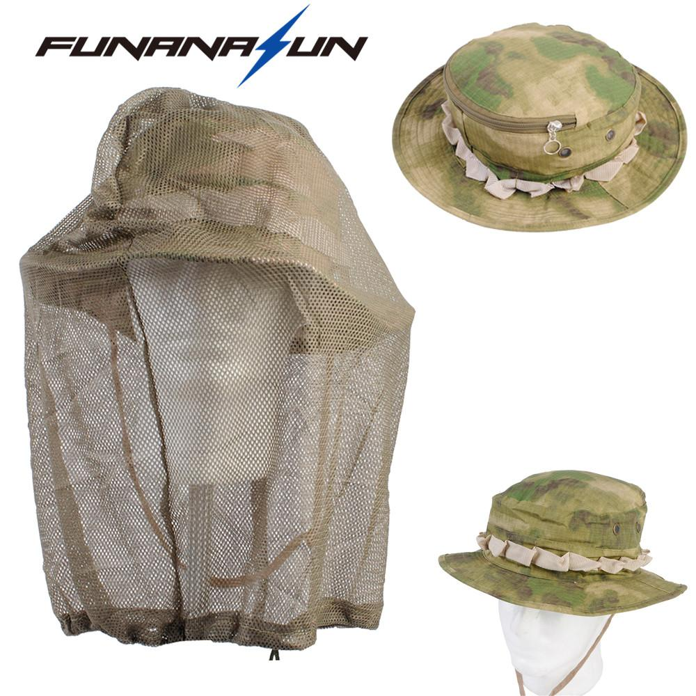 3373a8abb1c8d 2019 Unisex Bucket Boonie Hat Military Mosquito Net Fishing Hat Beekeeping  Hat Flying Insects Prevention Cap With Mesh Cover From Huiqi02