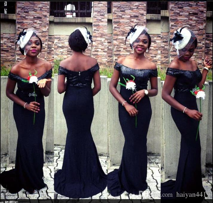 2018 Cheap Bridesmaid Dresses For Weddings Country Mermaid Off Shoulder Cap Sleeves Navy Blue Junior Long Sexy Plus Size Maid of Honor Gowns
