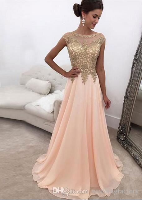 0fd2515da5c4 2018 Peach Sheer Bateau Neck Long Prom Dresses Gold Lace Appliqued Cap  Sleeves A Line Chiffon Formal Party Wear Evening Dresses Dark Purple Prom  Dresses ...