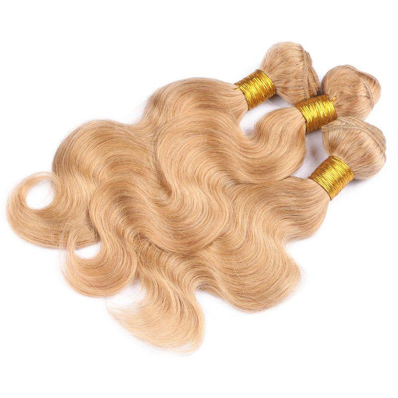 Body Wave # 27 Strawberry Blonde brasileña virgen del cabello humano teje 3 piezas Ofertas de paquete con Honey Blonde 13x4 Lace Frontal Closure /