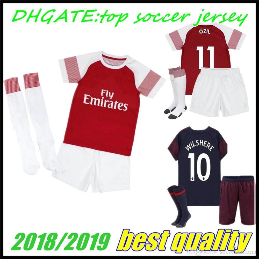 Arsenal Kids 18 19 AUBAMEYANG LACAZETTE Soccer Jersey Home MKHITARYAN 7  2018 2019 GIROUD OZIL 11 XHAKA 29 RAMSEY 8 Football Shirts Soccer Jersey  Third ... cf136233b