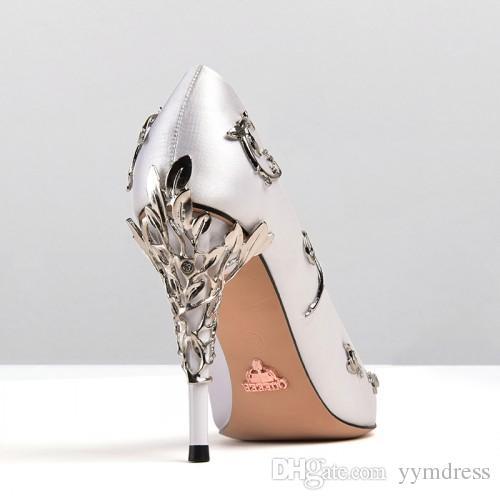 2019 Moda scarpe da sposa rosa blu da sposa Scarpe da donna a punta tacco alto 9 cm con foglie scarpe da sera Cocktail party