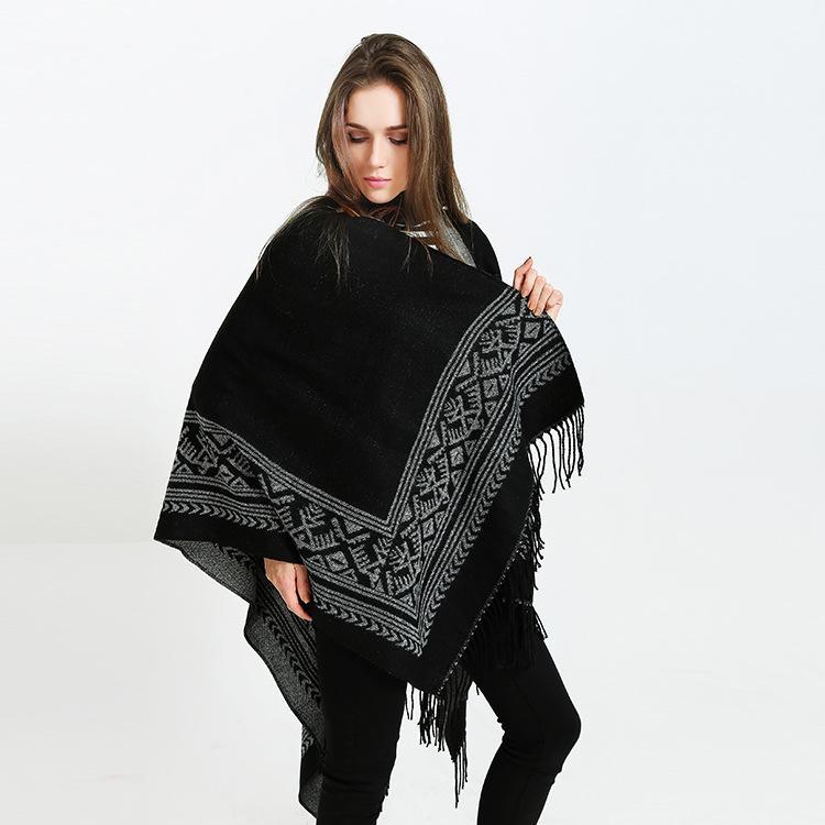 Nuova moda doppio lato poncho sciarpe bohemien con nappa donne inverno caldo spessore cashmere coperta mantello sciarpa lady scialle avvolgere