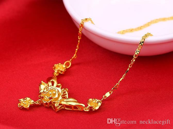 weighty Heay! Free shipping fashion flower 24k real yellow Solitaire gold chain necklace 45cm women jewelry
