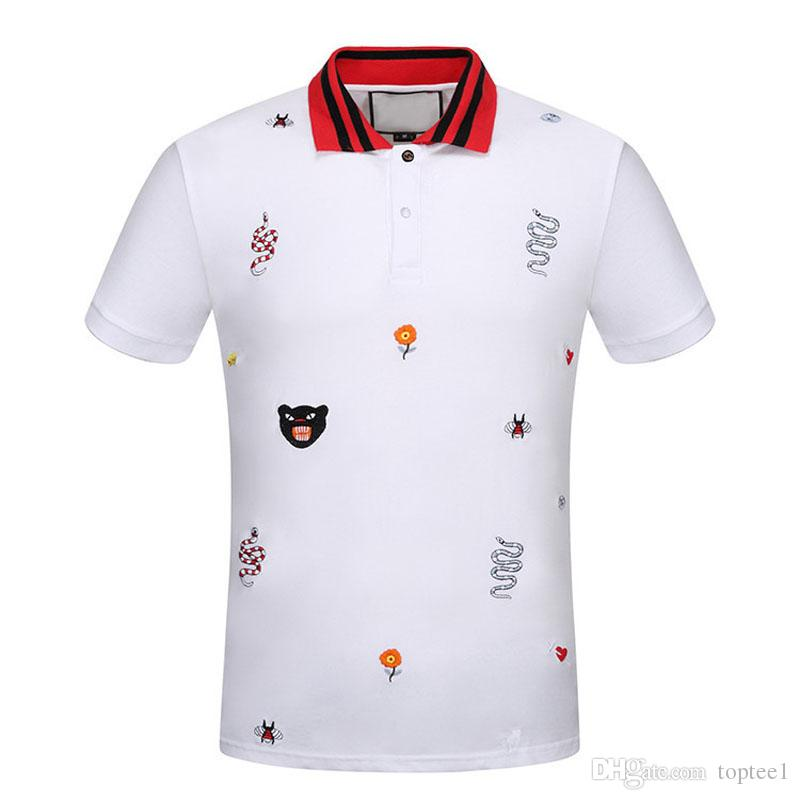 4e09b7eb0f9 New Fashion Designer Polos Men Poloshirts Short Sleeve Bee Tiger Snake Animal  Embroidery Classic Luxury Tshirts High Quality  010 Online with   87.12 Piece ...