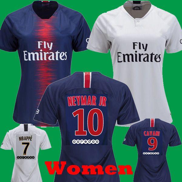 dd09b36a706 2019 Women 2018 2019 Neymar Jr MBAPPE Female DANI ALVES DI MARIA Home Blue  Girls Soccer Jerseys 17 18 Away White VERRATTI CAVANI Draxler Shirts From  Tmq0815 ...