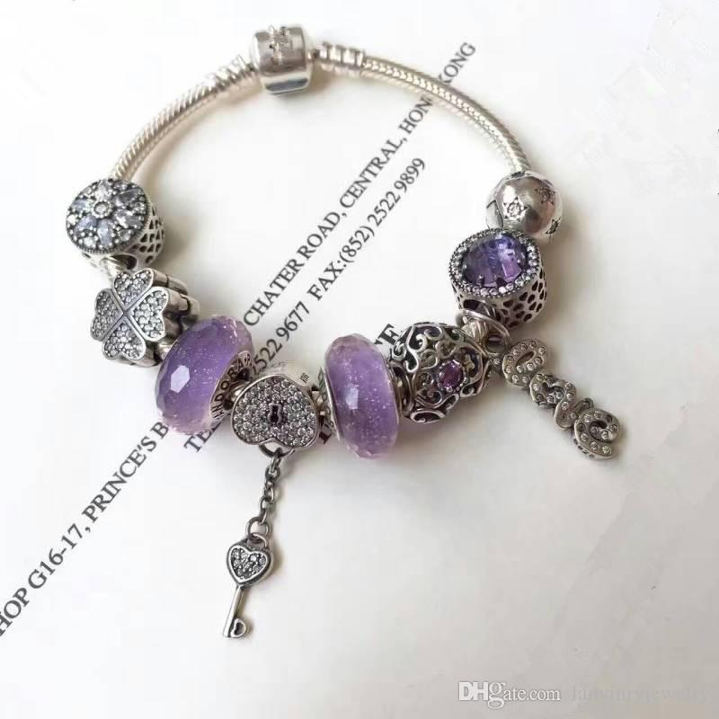 Brand new 925 sterling silver jewelry fancy charms and beads bracelets for women vintage style