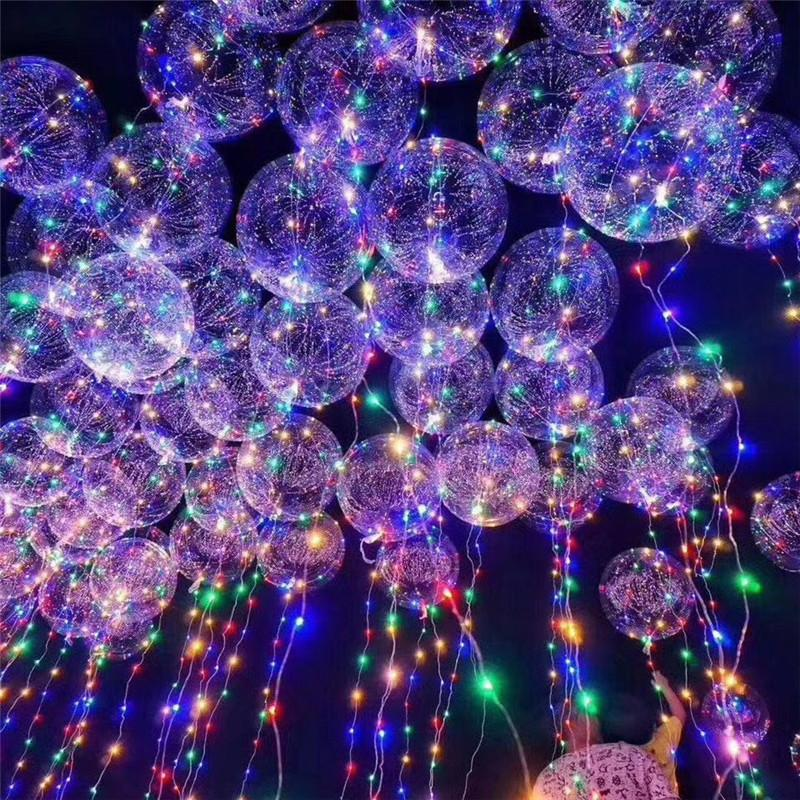 LED Light Bobo Ball Balloon with Flashing Wave Night Lights 3M String 20 inch LED Luminous Transparent Balloons Xmas Party Decoration Toys