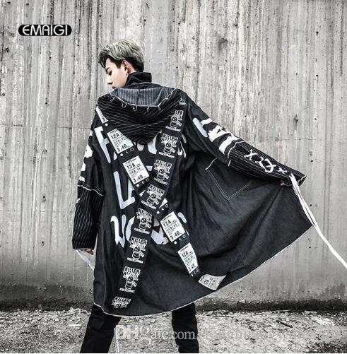 3c6af1dd7 Cross Ribbon Overcoats Men High Street Fashion Printing Hip Hop Punk ...