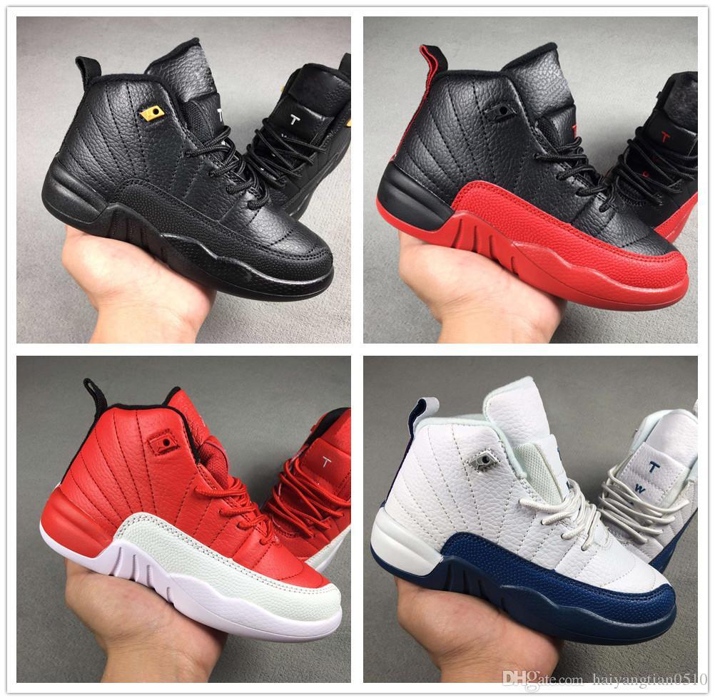 52edec0a129 Compre Nike Air Jordan Aj12 Caliente Bebé Niños 12 12s Zapatillas De  Baloncesto Niños J12 Colegio Marino Gris Oscuro Gripe Azul Rojo  Entrenadores Juventud ...