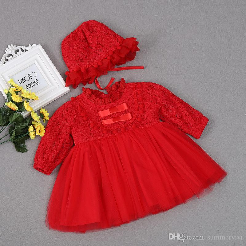 9810a7bc0 2019 Baby Pageant Dress Girls Ruffle Lace Long Sleeve Tulle Tutu ...