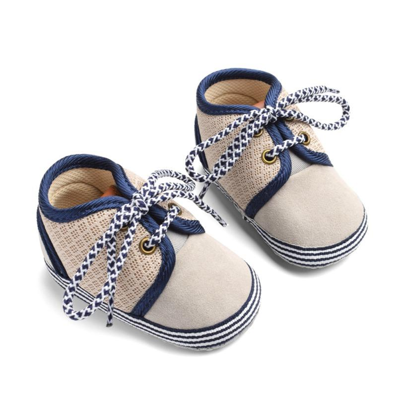 2e56381f2 2019 Baby Shoes Baby The First Walker Shoes Newborn Blue Pattern Round Lace  Cotton Mesh Stitching Boy Girl From Humom