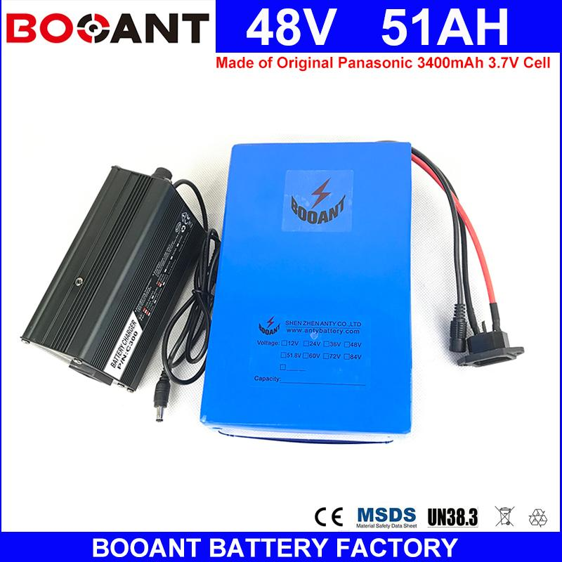 BOOANT E-Bike Battey 48V 51AH 1800W for Panasonic 18650 Li-ion Battery pack  48V Electric Bicycle Battery with 5A Charger 50A BMS