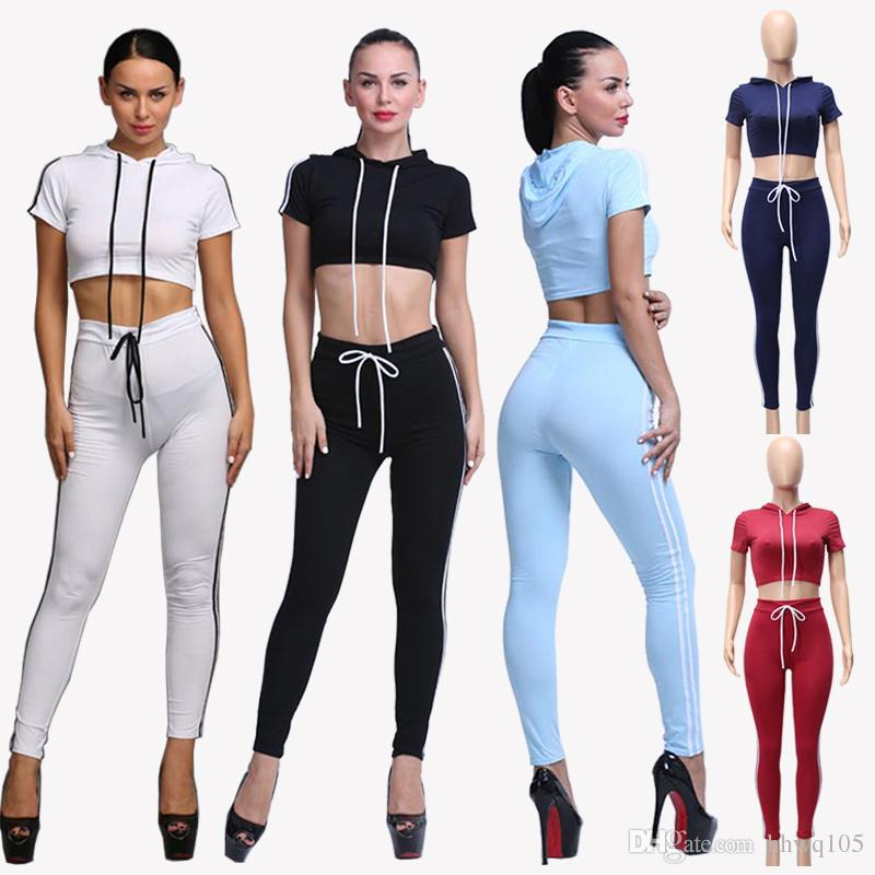 fa3a10f68d373 2019 New Women Cotton Tracksuit Set Slim Fit Two Piece Gym Yoga Clothes  Tops Pants Fashion Short Sleeve Hooded Crop Hoodie Jogger Pants DZF0614  From Hhwq105 ...