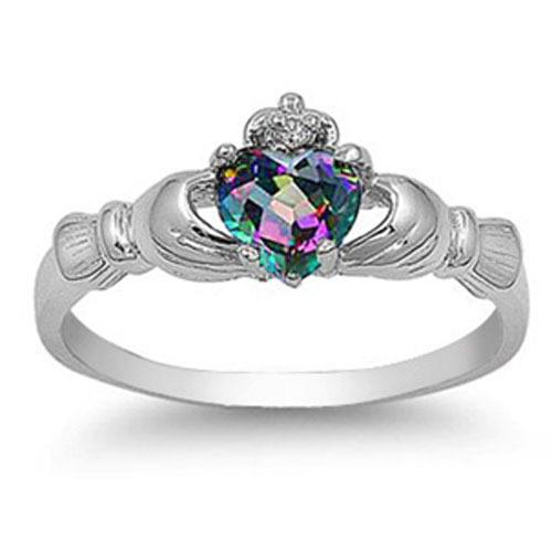 Romantic Multi-color Heart Artificial Gemstone Anniversary Wedding Band Ring Exquisite Silver Filled Jewelry For Women Gift Size 6-10