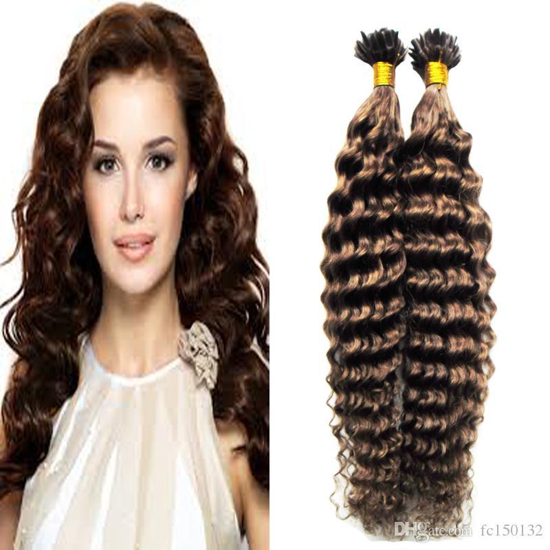 #4 Dark Brown Capsules Human Fusion Hair kinky curly Nail U Tip Machine Made Remy Pre Bonded Hair 100g/strands keratin human hair extension