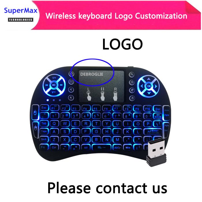 Logo customization 2 4GHz mini Wireless QWERTY Keyboard Touchpad with  Receiver for HTPC PS3 Xbox360 laptop phone more language
