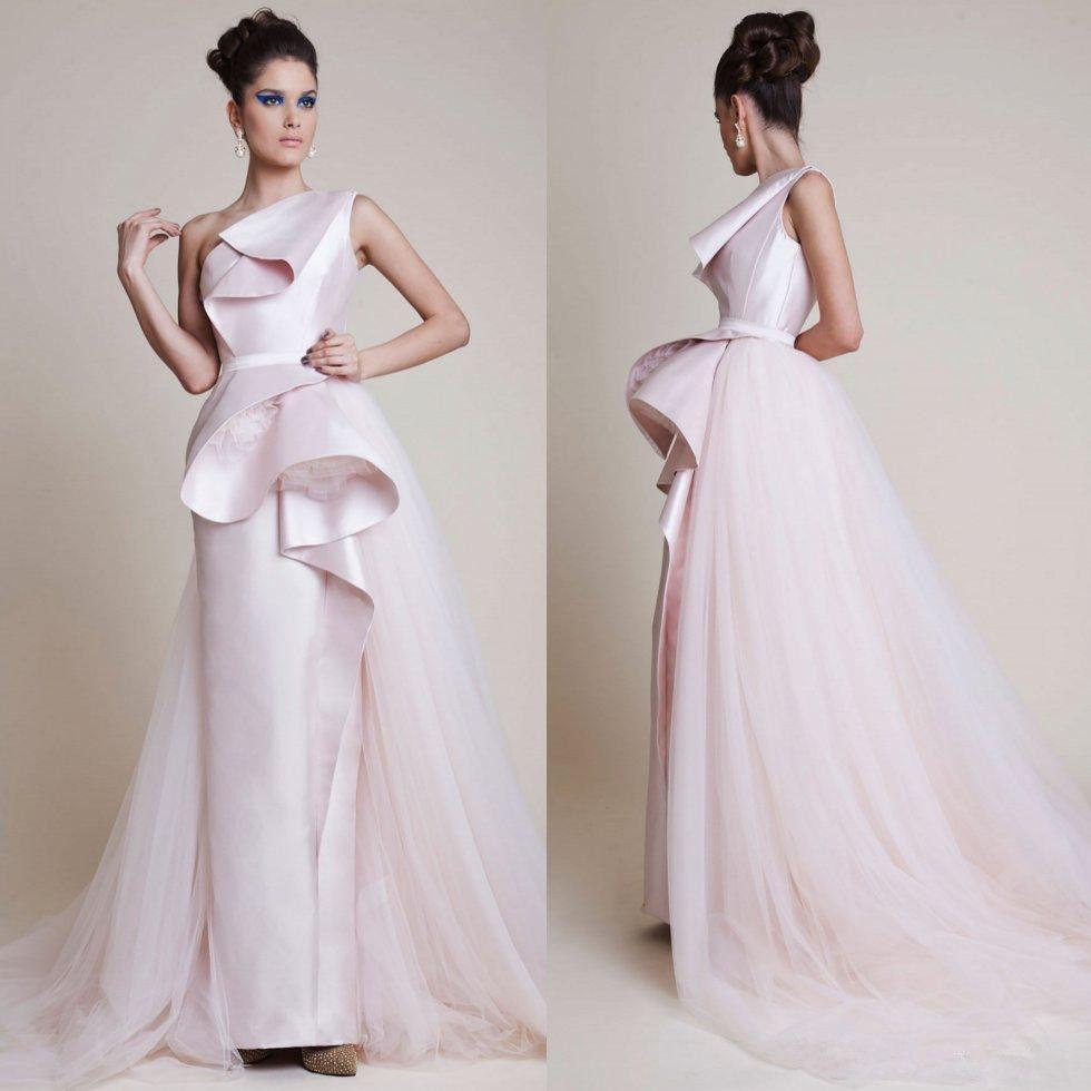 5efa4ce1aa92 Designer 2018 Pink One Shoulder Evening Dresses Overskirt Sheath Prom Gowns  Satin Floor Length Formal Dress Lace Evening Dresses Ladies Dresses Online  From ...