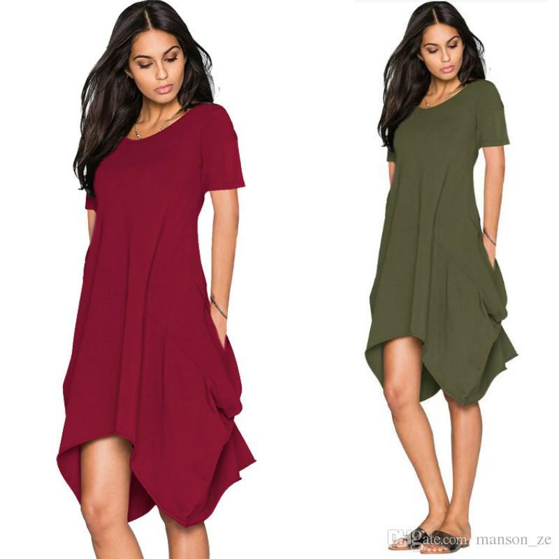 f13778ca92 Summer Mini Dress Women Casual Round Neck Plain Basic Solid Dress Short  Sleeve Short Tent Dress Vestido Verano Loose Fashion Pockets Dresses Casual  Purple ...