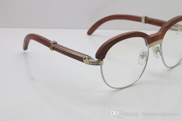 Бесплатная доставка Золото Вуд очки 1116443 очки мужчины резного дерева Обрезка объектива очки женщин Прозрачный объектив Decor деревянная рамка очки