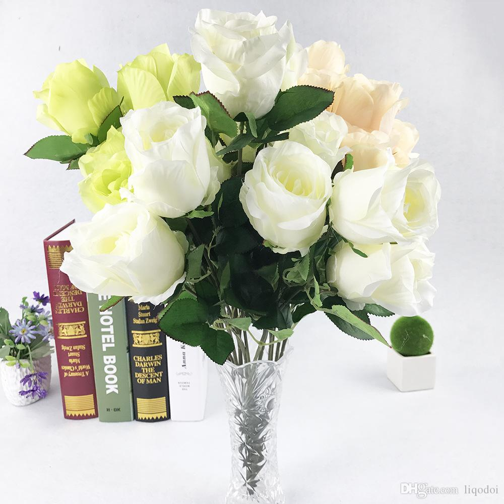 10 Heads Rose Artificial Flowers Wedding Silk Flowers Bridal Bouquet Latex Real Touch Rose Flora Home Party Flowers