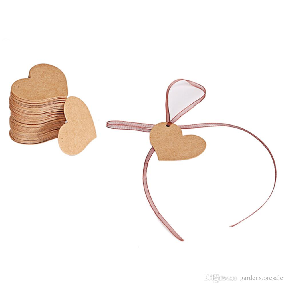 4.5*4cm Heart Shape Kraft Paper Card Wedding Favour Gift Tag DIY Tag Price Label Party Favor