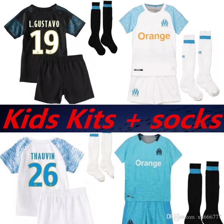 12367f4a2e Compre Crianças Kit + Meias 2019 Olympique De Marseille Terceira Camisa De  Futebol 2018 Maillot De Foot OM Marselha PAYET L.GUSTAVO THAUVIN Camisas De  ...