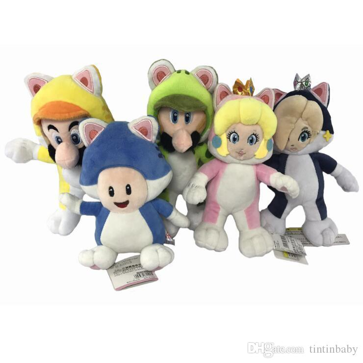 Super Mario Bros Plush Toys Cat Luigi Princess Wario Super Stuffed Animals Cartoon Comics Stuffed Dolls Gifts