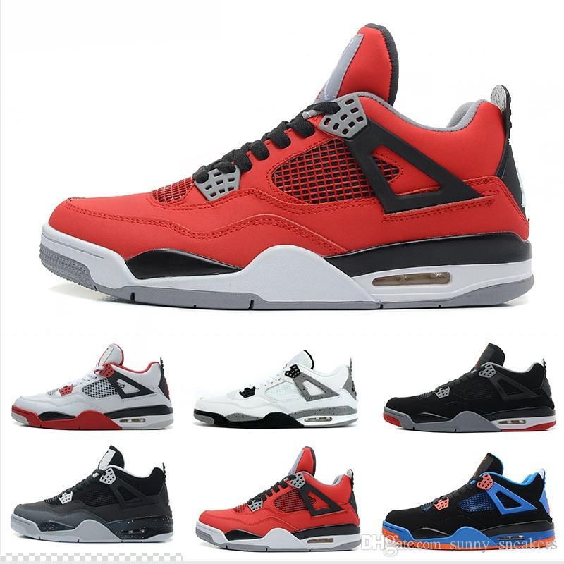 sports shoes f10a7 cf52c Großhandel Hohe Qualität 4 Basketball Schuhe Männer 4 S Reines Geld Lizenz Weiß  Zement Gezüchtet Militär Blau Sport Turnschuhe Größe 40 46 Von ...
