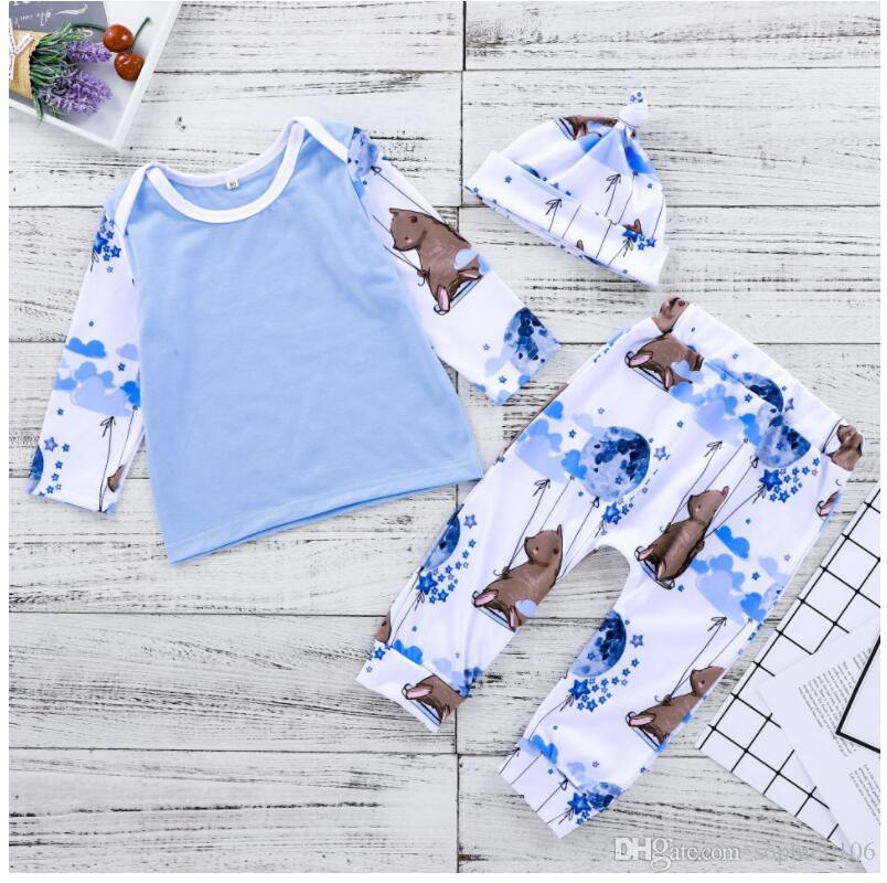 Girl Star Moon Balloon Hamster Print Sets Three Pieces Baby Spring and Autumn Long Sleeve Tops and Pants Hat Suit Kids Clothes ZHT 112