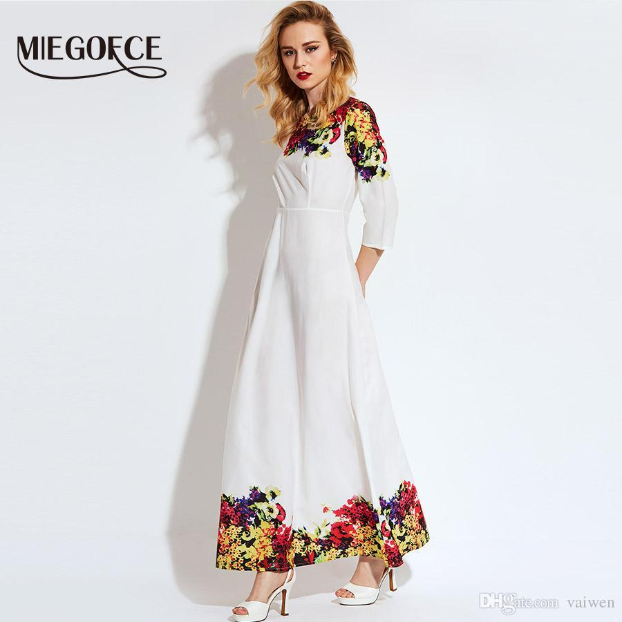 74e0cde3caa 2019 Miegofce 2018 White Floral Ankle Length Summer Dress With Quarter  Sleeve Vestido Vestidos De Fiesta Maxi Dress Long From Vaiwen