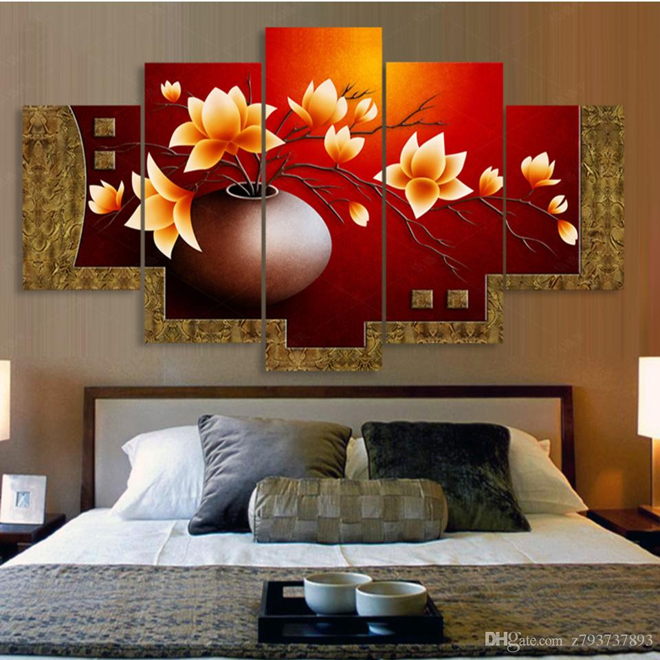 Painting Modular HD Printed Picture Modern Cuadros Canvas Art 5 Panel Flower Vase Poster Wall For home Living Room Decoration