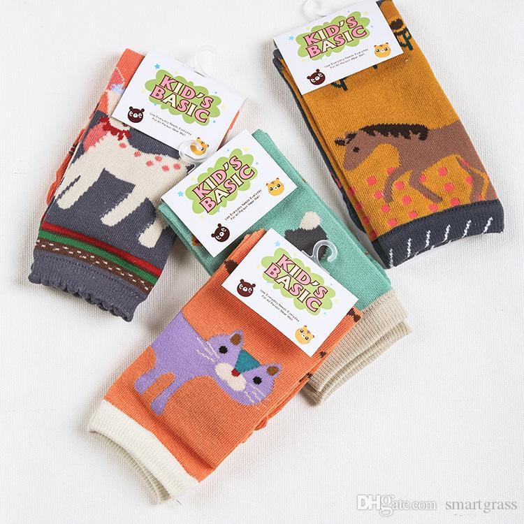 Modèles d'animaux Coton bébé chaussettes Unisexe Toddler rampant genoux de genoux avec paquet de détail mignon chaude chaucheuse jambe 18080901